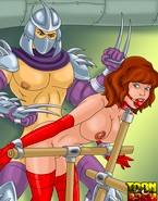 Porn Shredder's evil dick makes April scream as it hurts her pussy really bad