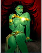 Green fantastic  bitch stroking boobs with dagger