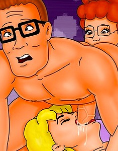 Hank Hill gets a portion of unexpected annilingus from Peggy while fucking Luanne's mouth