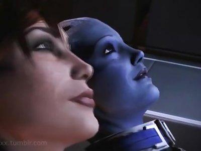 Femshep Bangs Liara POV - Mass Effect Extended Romance Scene SFM