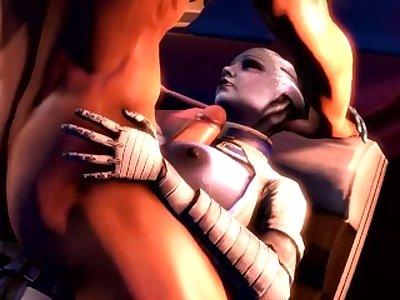 Mass effect Liara titty fucked while Samara watches