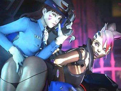 Officer D.VA X Sombra Overwatch (Animation)