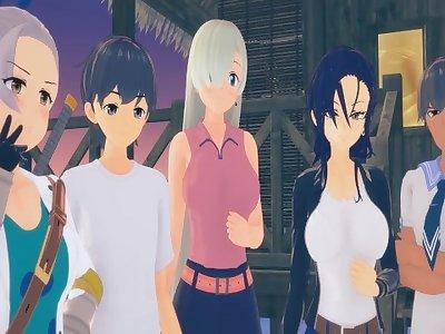 (3D Hentai)(Seven Deadly Sins) Beach orgy (Elizabeth, Merlin, Jericho)