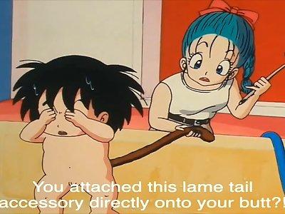 Goku fucks Bulma with his tail