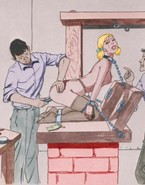 Drawn fellows restrain and punish honeys in a dungeon
