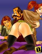 Stacked cartoon redhead runs loose