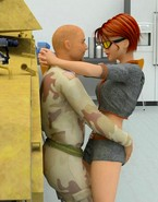 Red-haired hoochie gives head to soldier