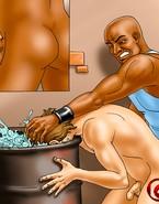 Black homo dom training his white slave