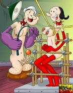 Popeye's enormous cock hurting and pleasing Olive Oyl on crazy drawn BDSM porn pics