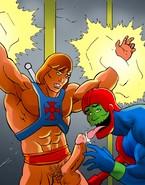 He-man attacks cocks