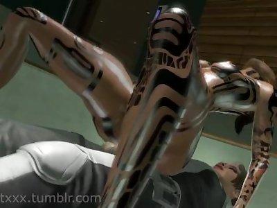 Jack walks in on Futa Cora Mass Effect SFM