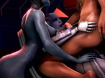 Mass effect Liara titty fucked while Samara watches