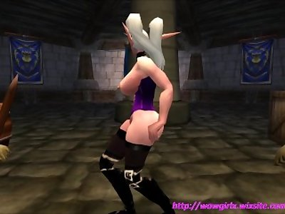 Sexy Night Elf Strip-Tease in Purple Corset (visit website for more video)