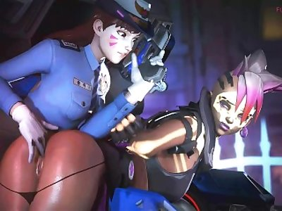 Officer D.VA X Sombra Overwatch (Animation)