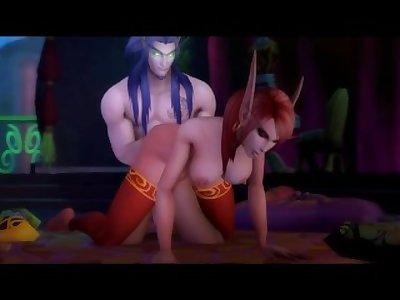 Sexy Warcraft Elf Sucks and Fucks her Lover's Huge Dick