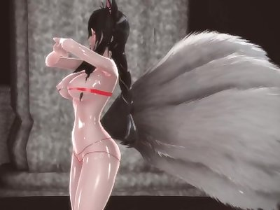 3D MMD League of Legends Ahri Dances Galaxias