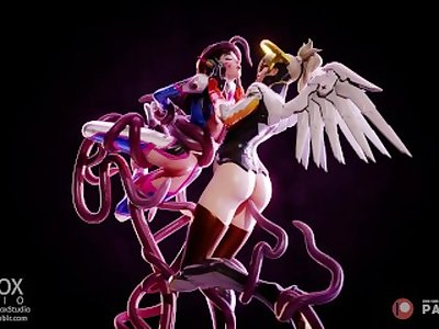D.va and Mercy fucked by tentacles