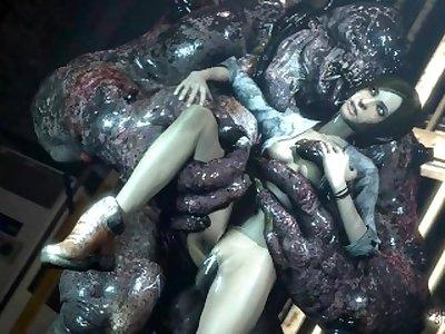 Demon monster cock cums inside her