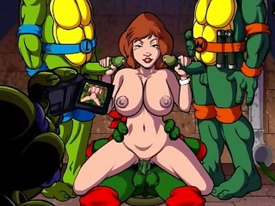 April O'neil and her friends (slow mo bukkake)