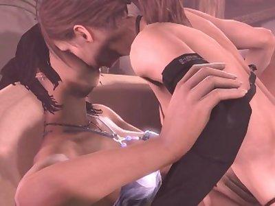 3D SFM [BlackJr] Futa Quiet x Lara Crift