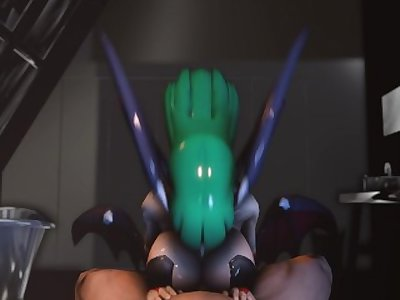 Morrigan Aensland 3D Titfuck and Cum swallow (no sound)