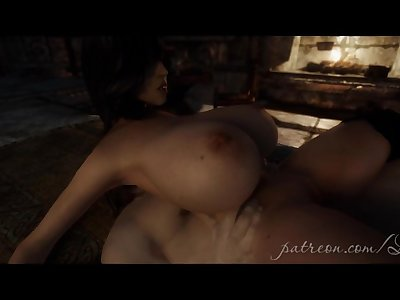 3D animated babe with huge tits gives blowjob and rides huge dick skyrim