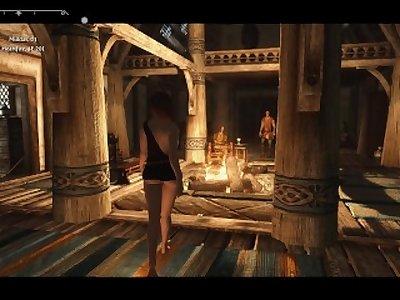Sexy Skyrim-Dovakhin convinces Mikael to leave Carlotta alone .