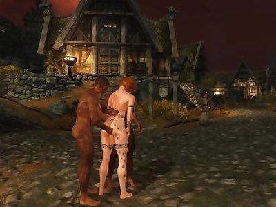 Sexy Skyrim- Redhead Nord Having 3some
