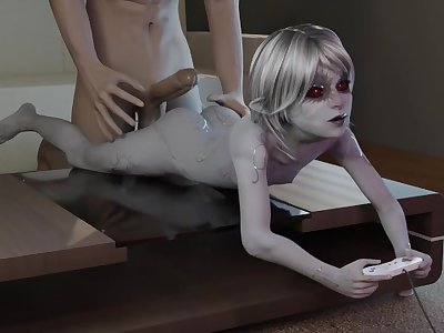 Dark Elf Raeza from Skyrim getting anal while playing in PS (SFM PMV)