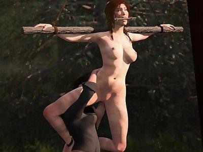Lara Croft tied and abused