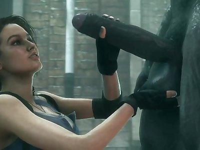 Jill Valentine - Taking a Big Zombie Cock