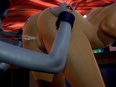 Lesbian Teen Titans - Starfire x Raven - 3D Porn