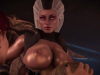 Cassie sucking Sindel with Skarlet and Frost
