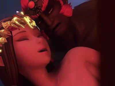 Link cuckolded by Princess Zelda enjoying Ganon's cock