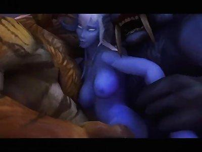 Warcraft Dranei bitch gets gang banged