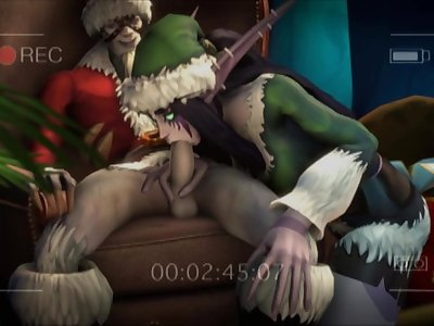 Sexy Night Elf slut has very slutty sex with a big throbbing cock
