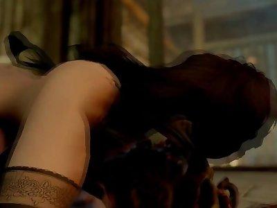 Skyrim: Riekling takes nord woman as sex slave.
