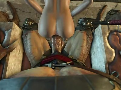 Cassie Cage and Shao Kahn Anal Creampie