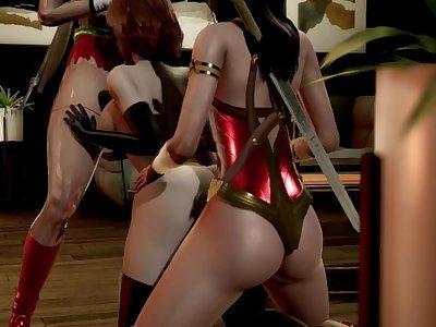 Helen Parr (Incredibles Elastigirl) Gangbang by Supergirl & Wonder Woman (futa, japanese)