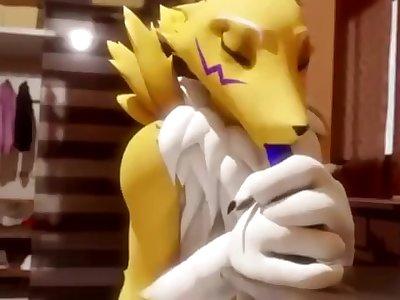 Renamon takes a knotted dildo