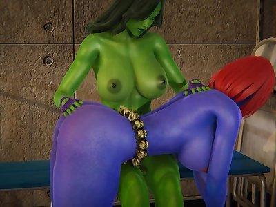Futa - Anal - She-Hulk x Mystique - 3D Porn