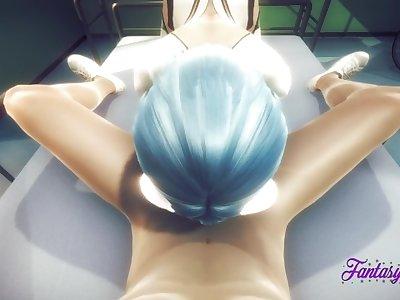 Evangelion Hentai - POV Rei Blowjob, Boobjob & Cum in her face