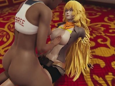 RWBY: Futa Harriet and Yang secret fuck with titsjob