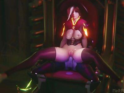 Widowmaker Fucks Mercy on a Throne