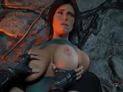 Lara Croft get her boobs slapped by Tifa