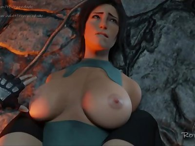 Lara Croft get her boobs slapped by Tifa
