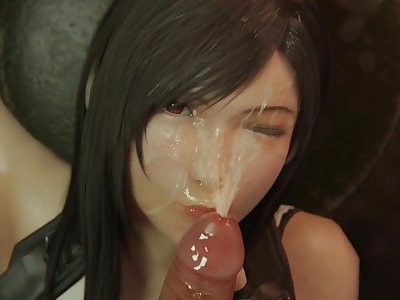 Tifa Lockhart Upside Down Face Fucked Blowjob