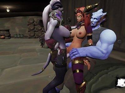 Family porn monsters! Group sex whorecraft futa / 3d monster fuck