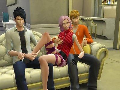 Naruto Sex Sasuke and Sakura threesome Hentai