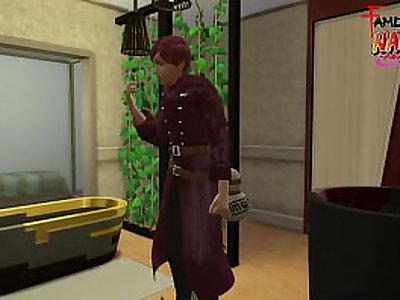 TEMARI discovers his brother GAARA masturbating his HUGE COCK  in the bathroom. (NARUTO PORN)